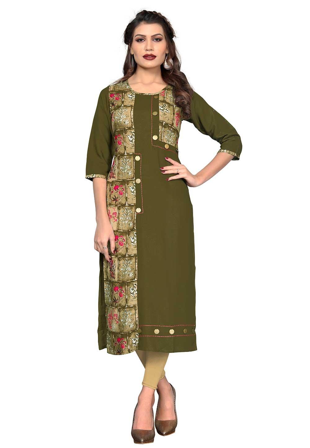 Buy Green Colour Indian kurtis