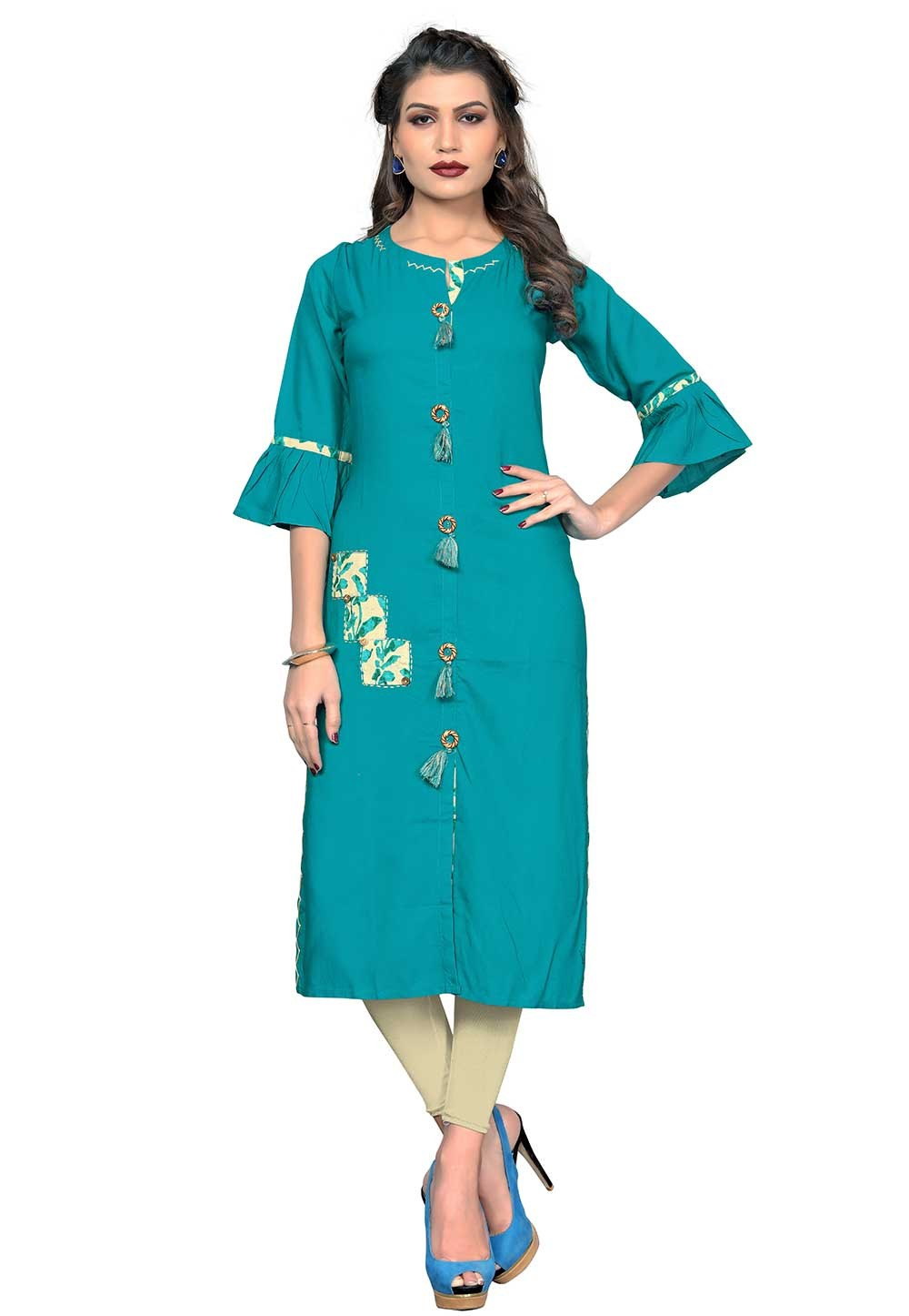 Buy Blue Colour Indian kurtis