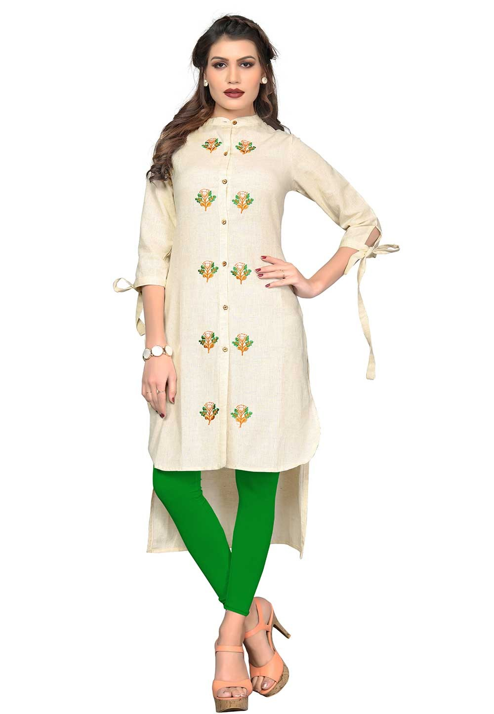 Buy Off White Colour Readymade Indian kurtis