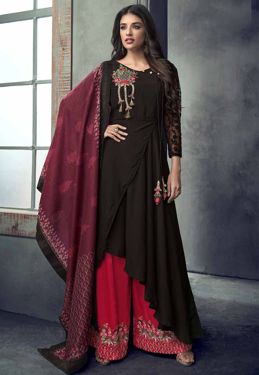 Wine Colour Party Wear Salwar Kameez