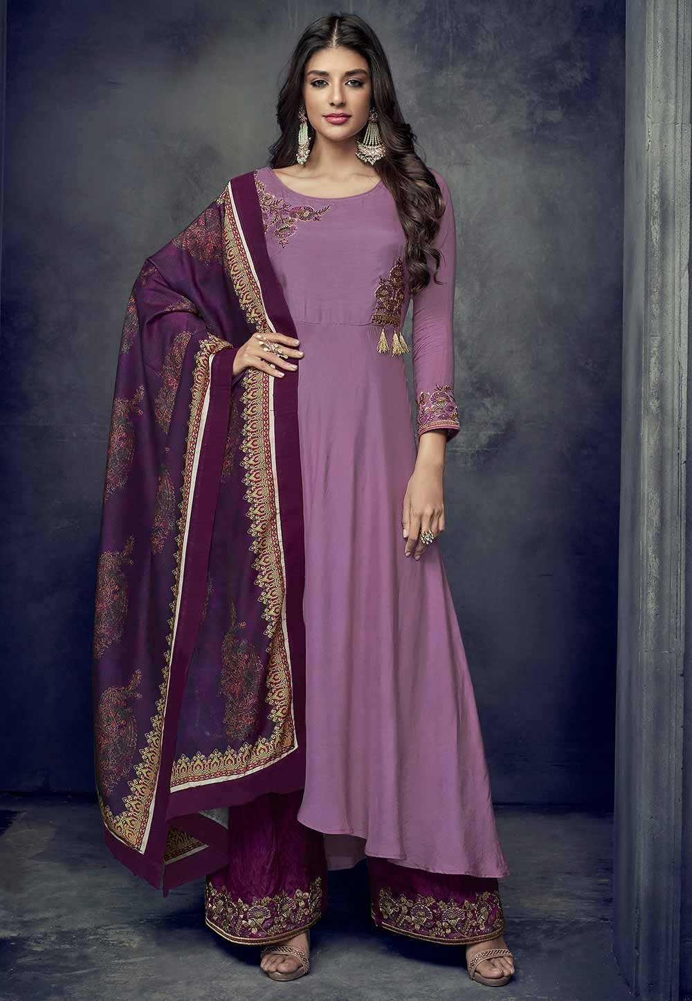 Purple Colour Party Wear Salwar Kameez
