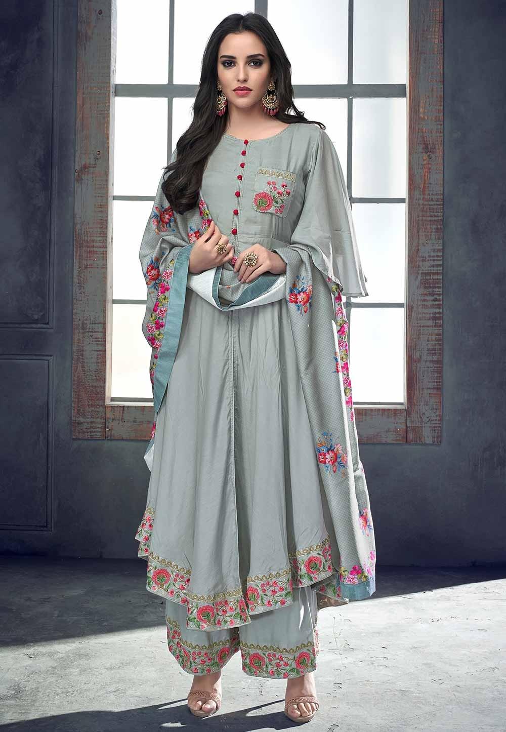 Grey Colour Palazzo Party Wear Salwar Kameez