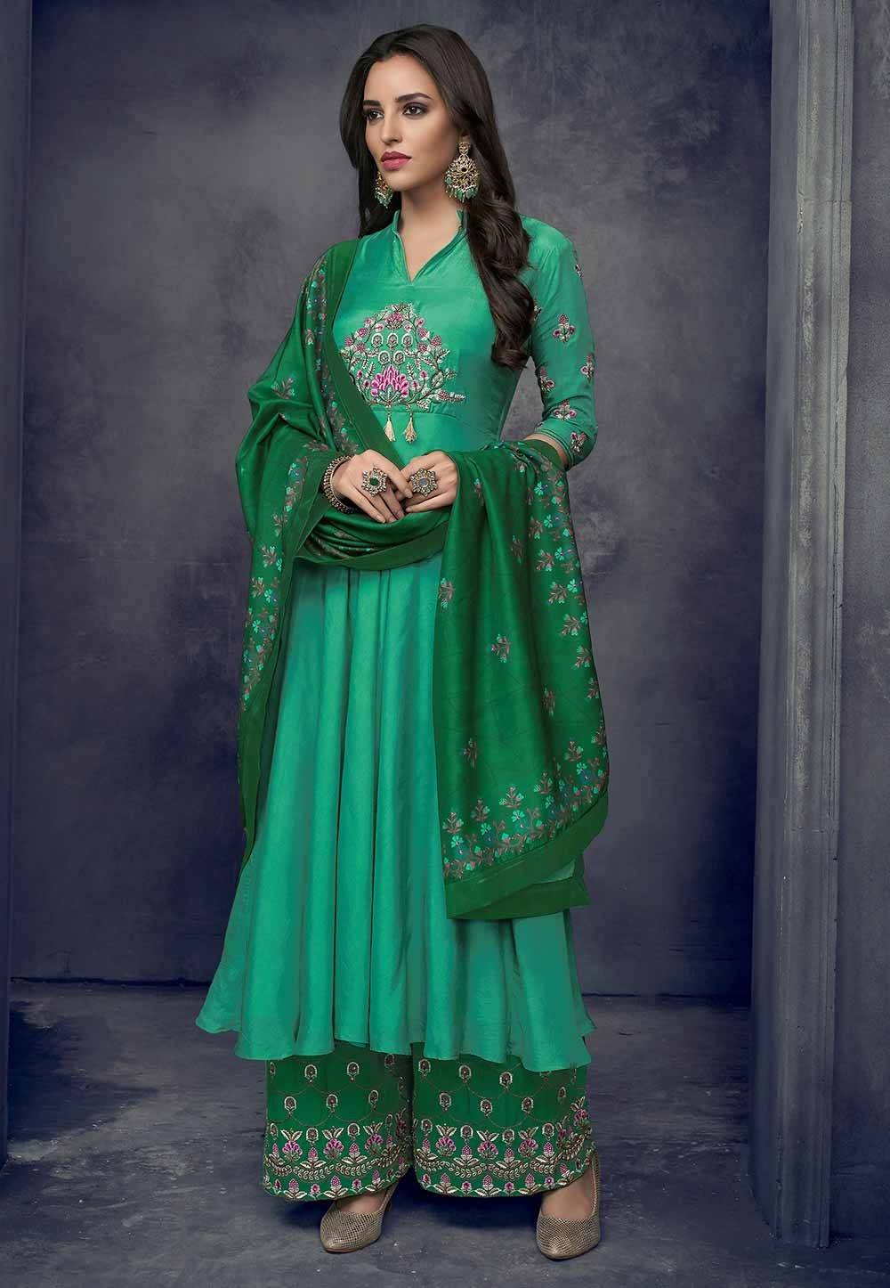 Green Colour Palazzo Party Wear Salwar Kameez