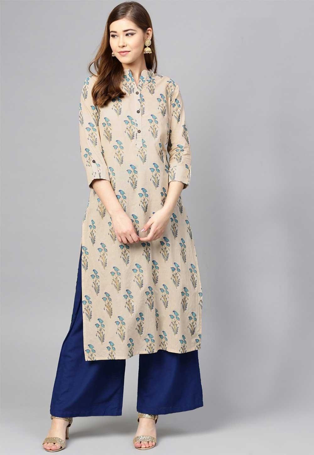 Buy Beige Colour Indian kurtis Online