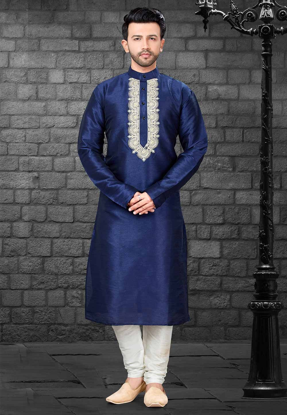 Readymade: Buy Designer Kurta Pajama Online in Blue Colour
