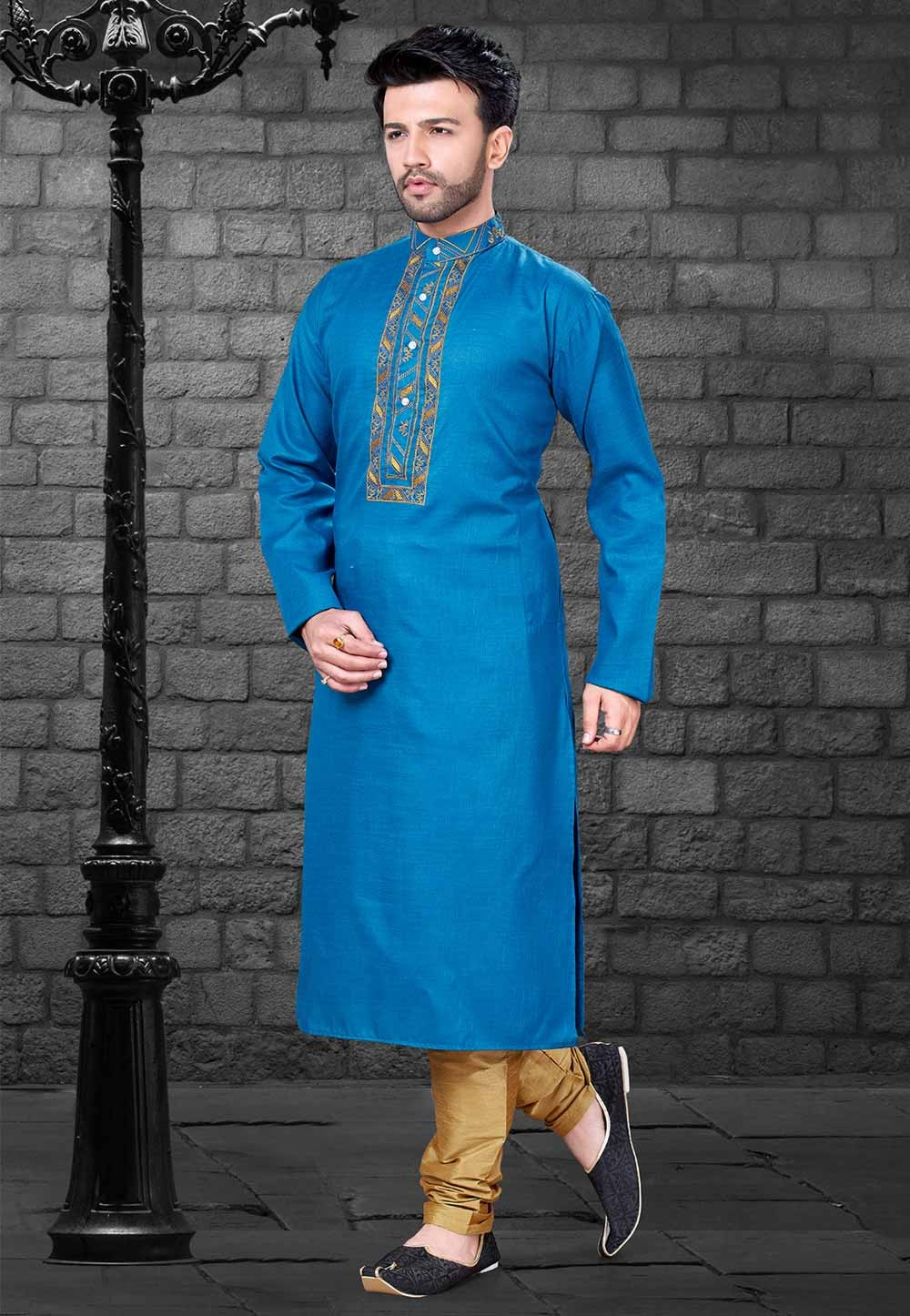Party Wear: Buy Kurta Pajama Online in Blue Colour