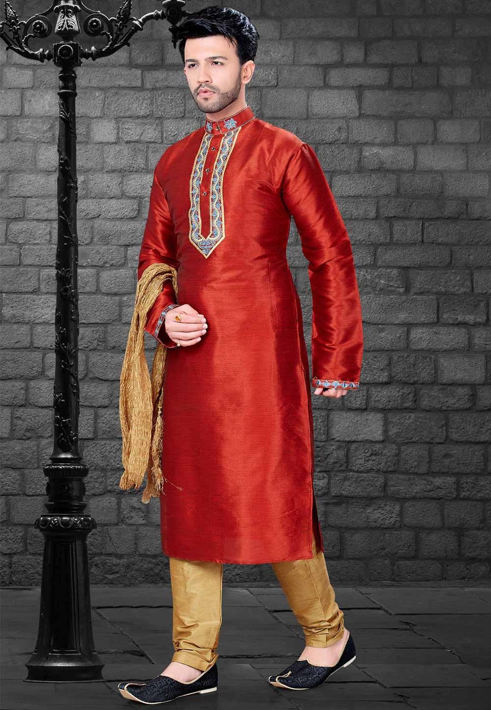 Red Colour Designer Indian Kurta Pajama for Mens