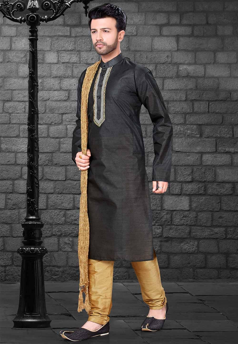 Silk: Buy Kurta Pajama Online in Black Colour