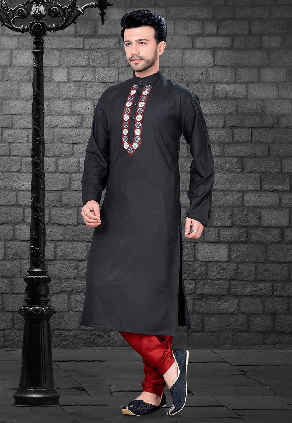 Cotton: Buy Kurta Pajama Online in Black Colour