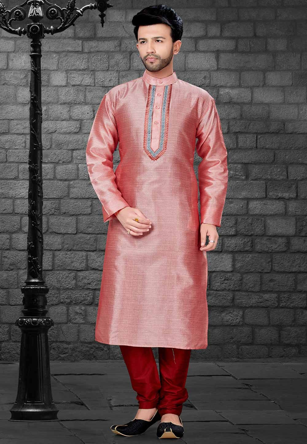 Pink,Red Colour Readymade Indian Kurta Pajama for Mens