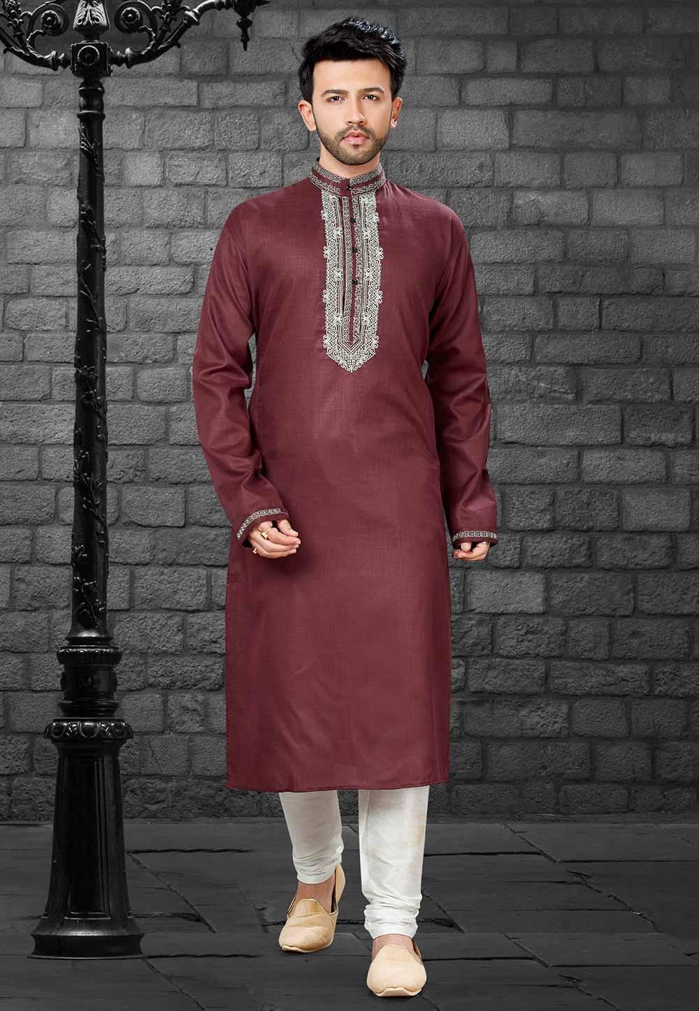 Designer: Buy Kurta Pyjama Online in Maroon Colour
