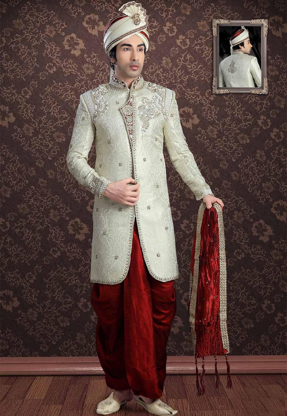 Cream Colour Men's Indowestern.
