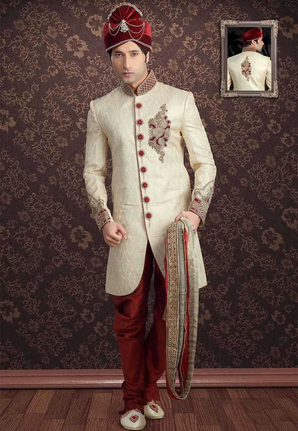 Get the latest Golden Colour Designer Sherwani for men Online