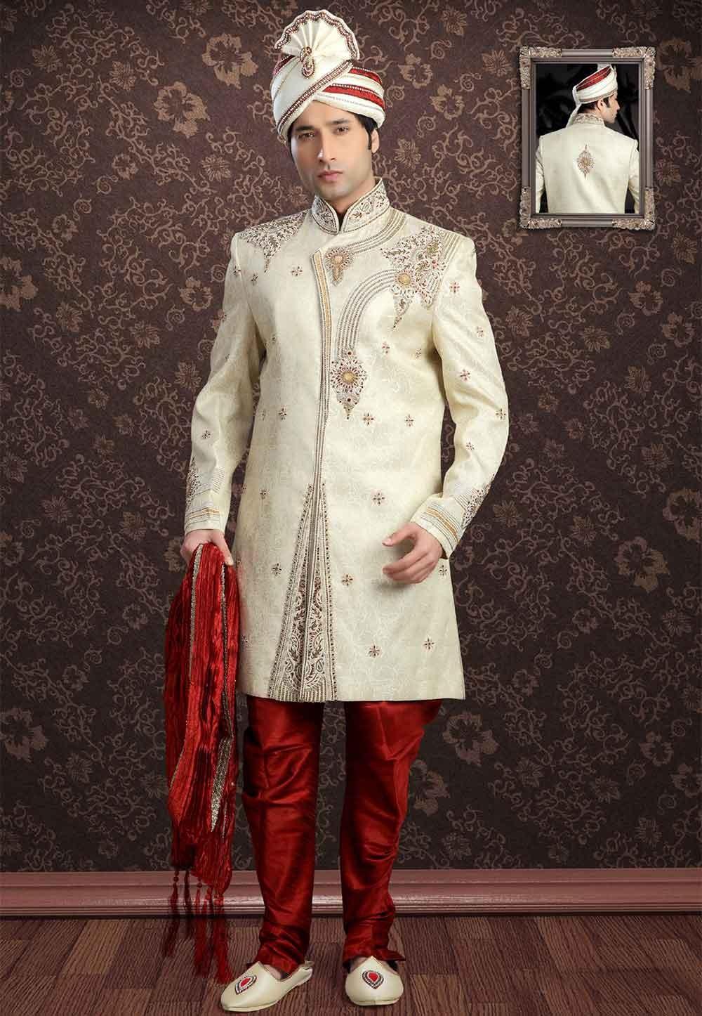 Buy sherwani online in Golden Colour Sherwani for wedding