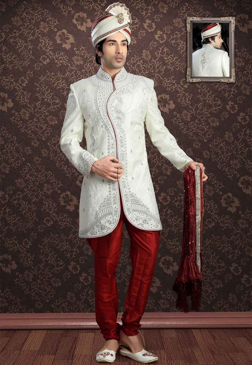 Designer Off White Colour Readymade Sherwani for men