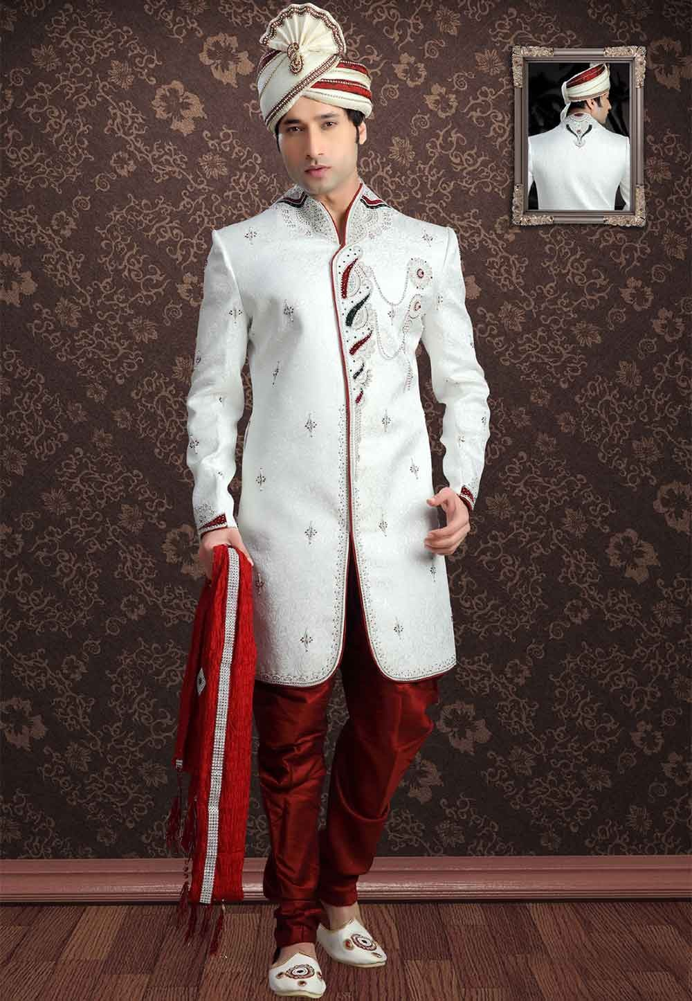 Buy designer sherwani in White Colour Jacquard Print