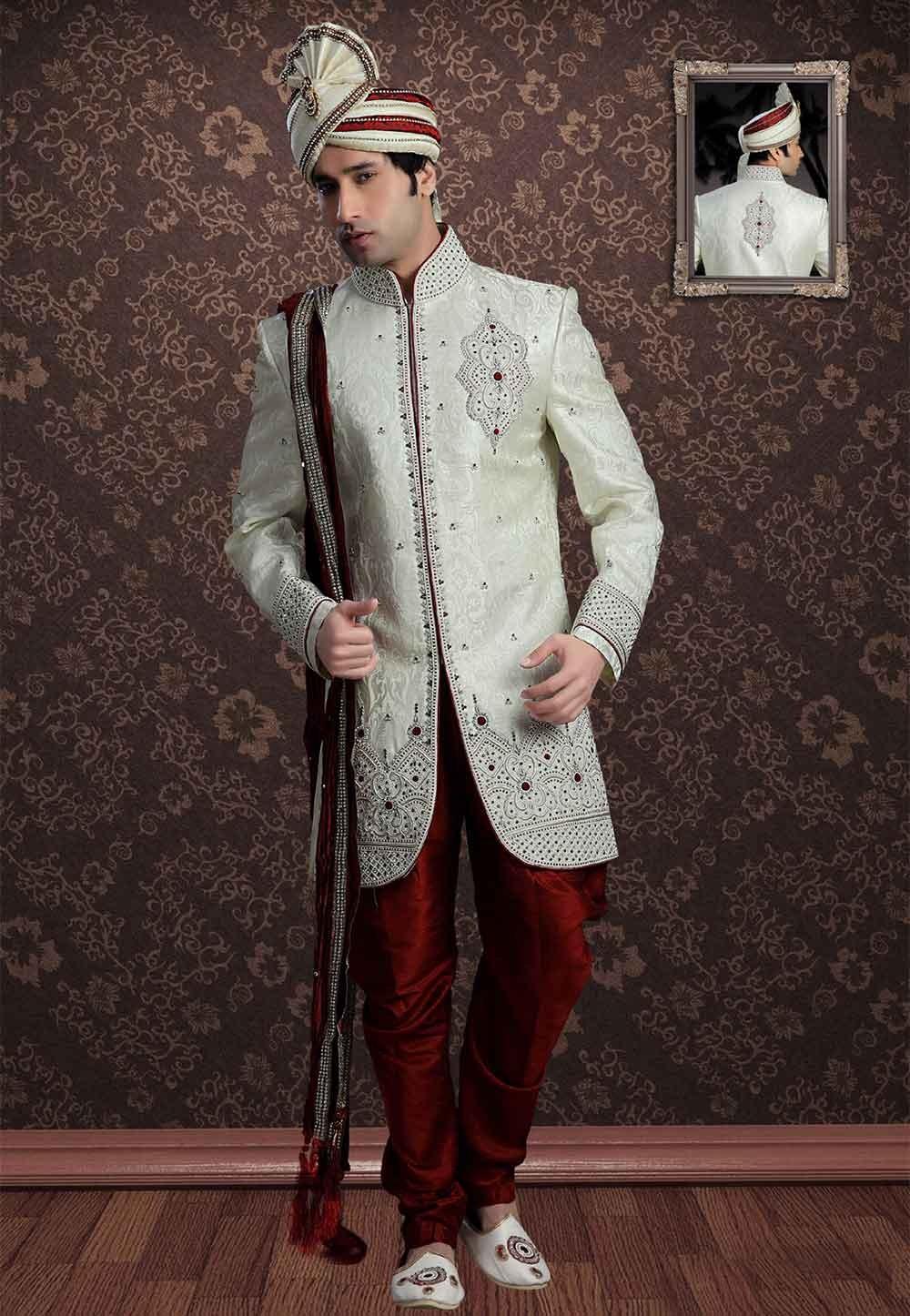 Latest Cream Colour Indian Designer Sherwani for men