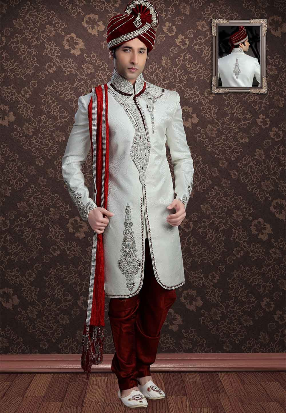 latest Off White Colour Jacquard Sherwani for men