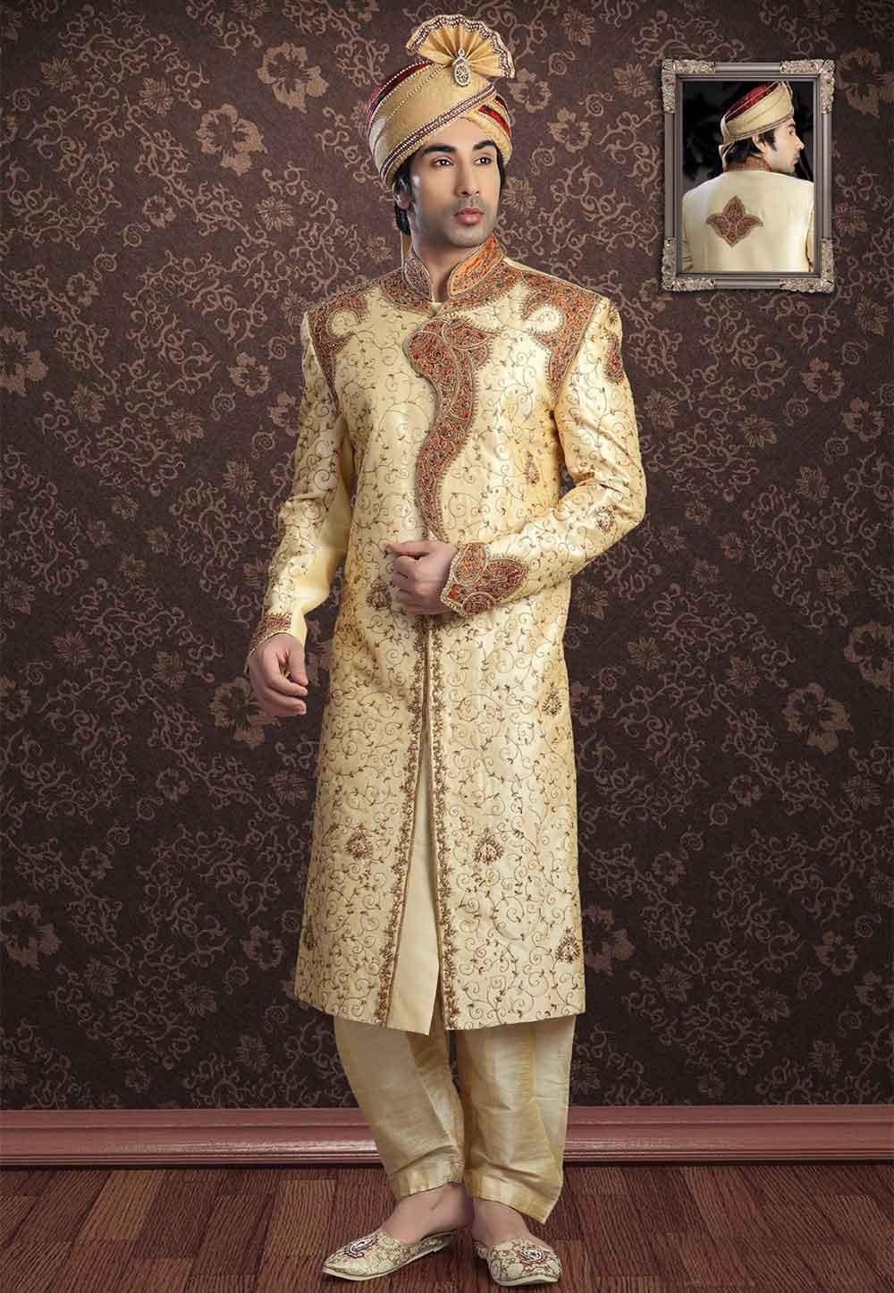 Buy designer sherwani in Golden Colour for Wedding
