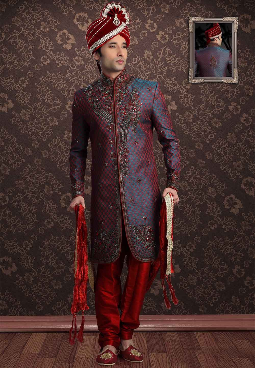Buy sherwani online in Blue,Red Colour at best price