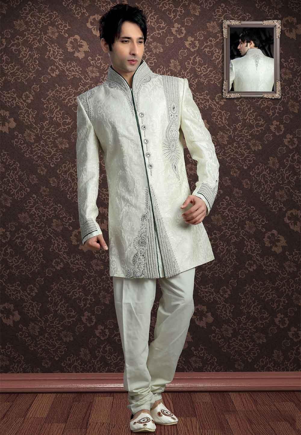 Off White Colour Men's Indowestern Sherwani for men