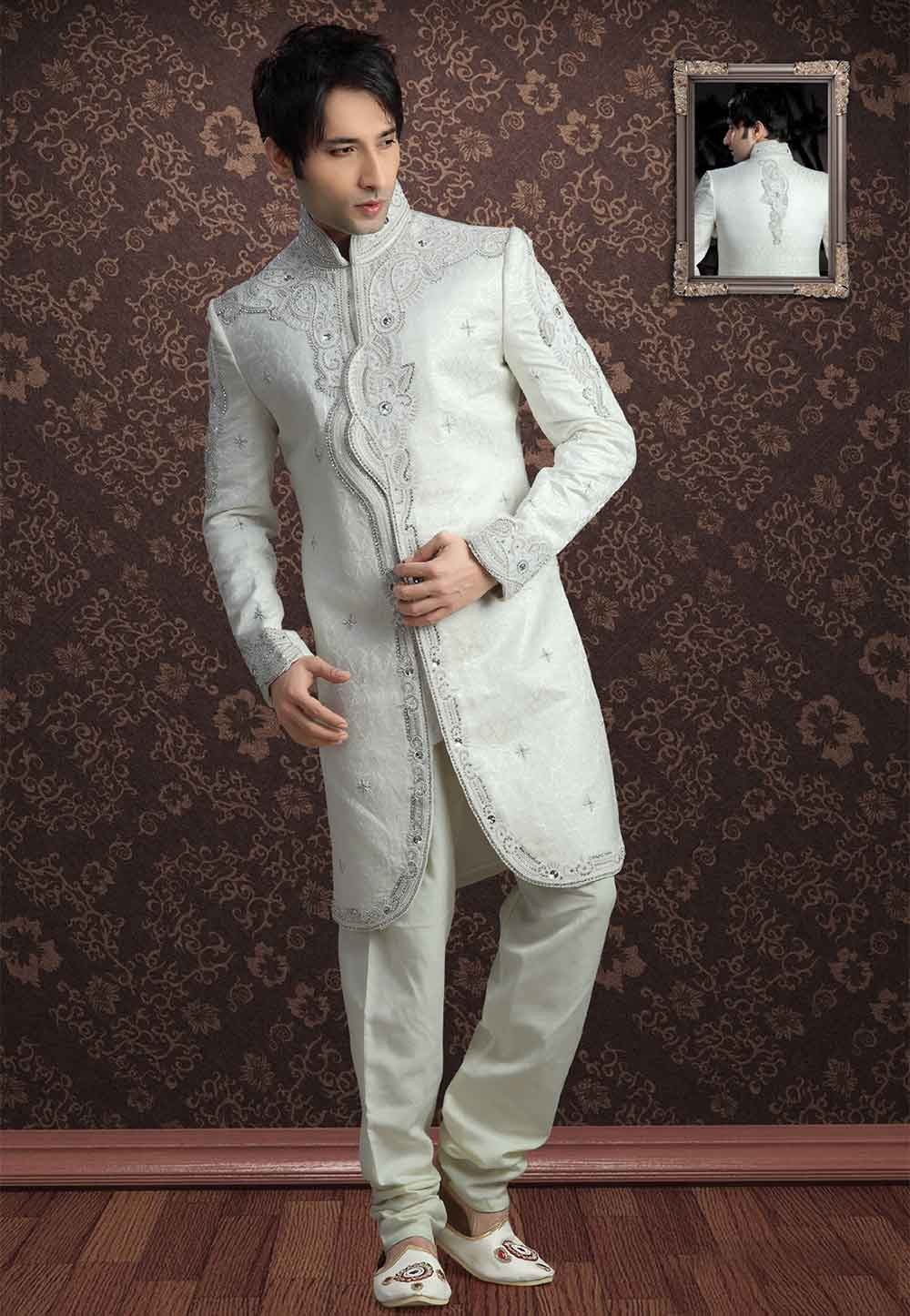 Off White Colour Indowestern style Sherwani for men