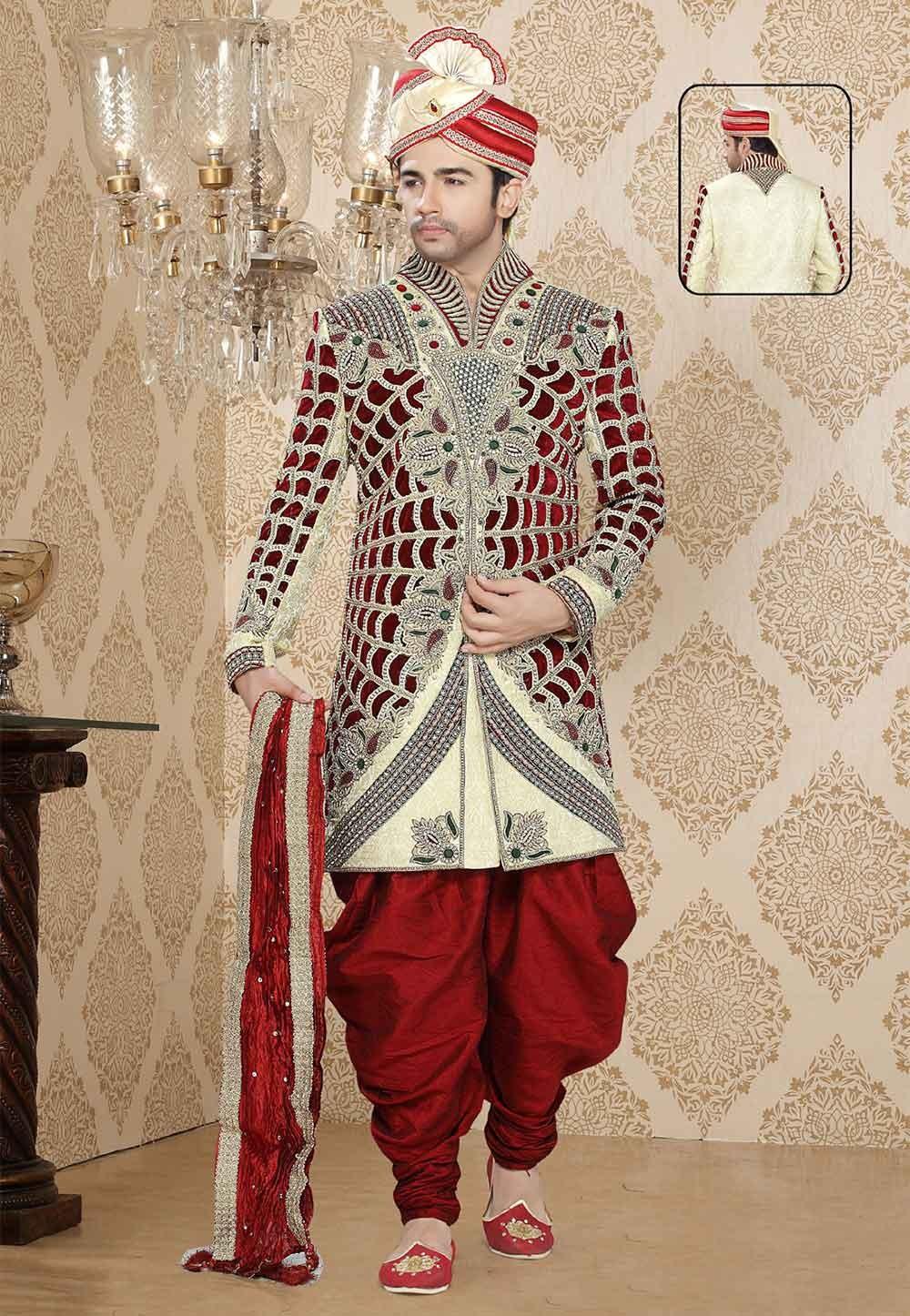 Buy sherwani online in cream maroon colour for wedding