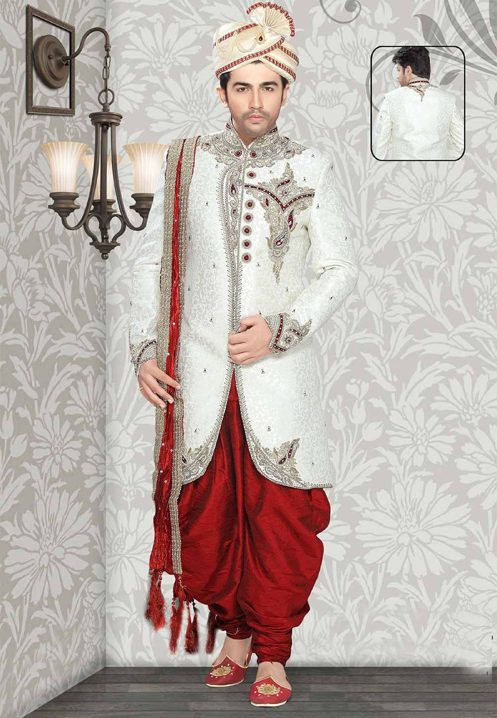 Get off white colour indian sherwani for Men