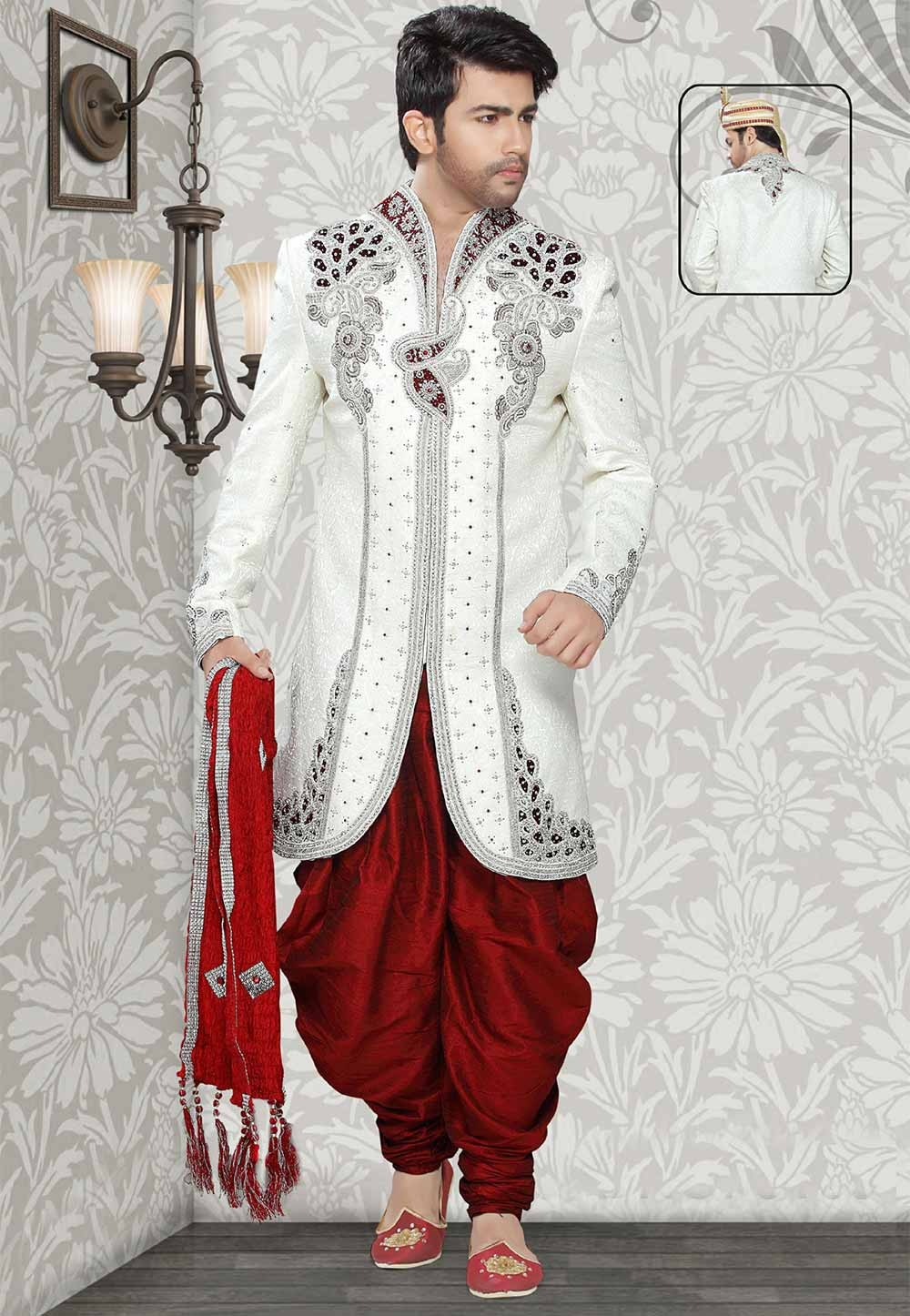 Buy sherwani online in Off White Colour at best price