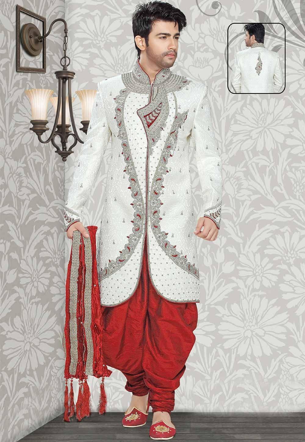 Buy off white colour wedding sherwani for men