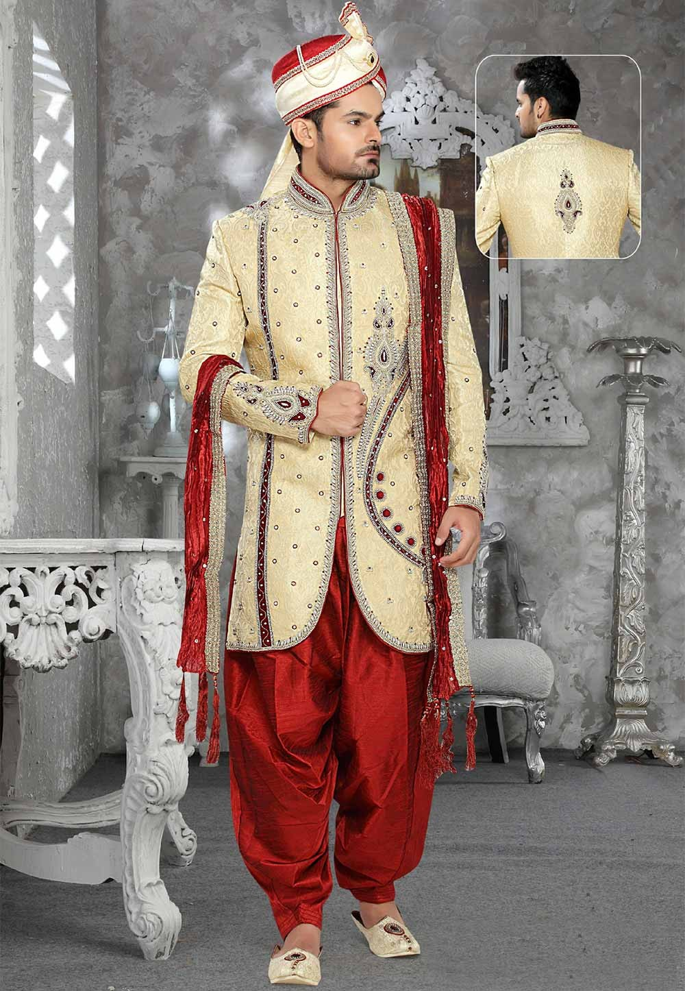 Buy designer sherwani in Golden Colour
