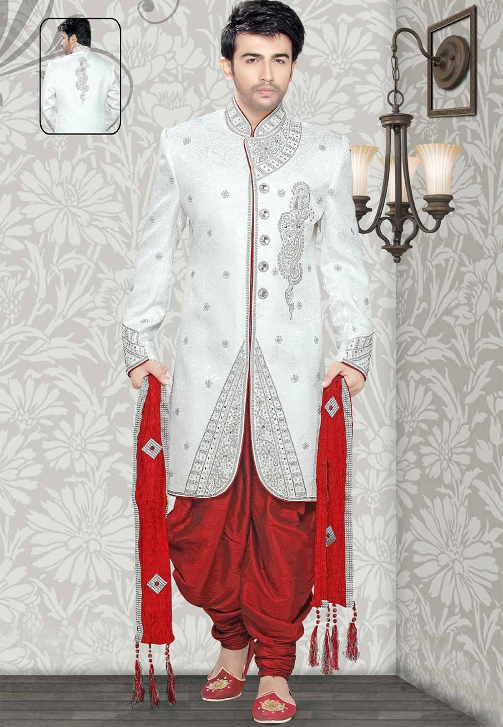 Buy sherwani online in Off White Colour