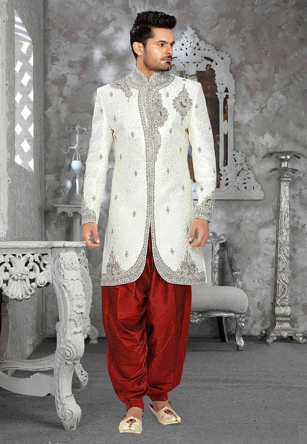 White Colour Jacquard Sherwani for men