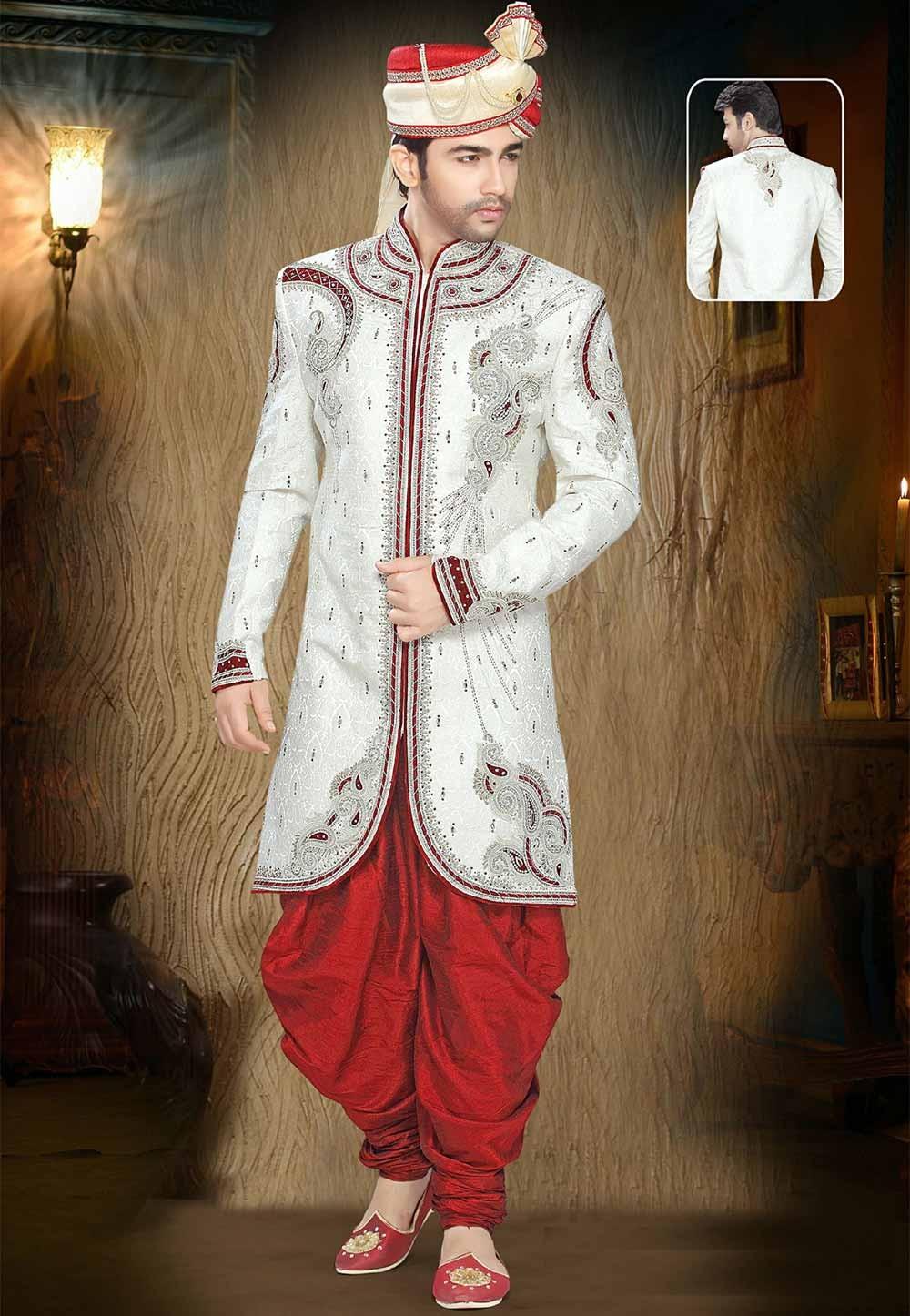 Buy sherwani online in Off White Colour online