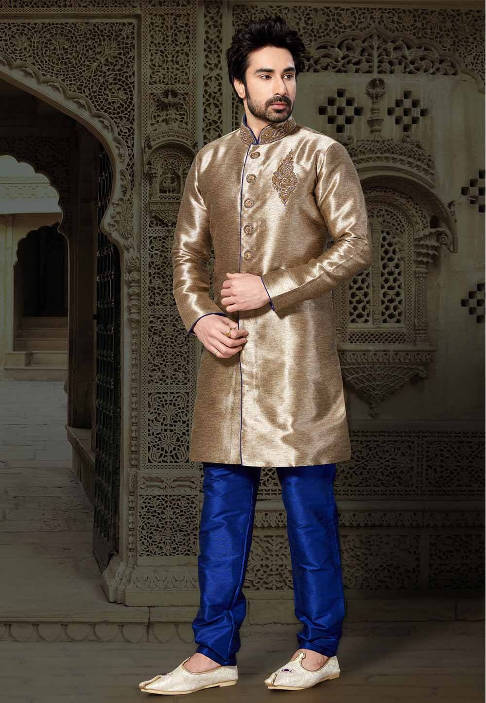 Beige,Brown Colour Readymade Kurta Pajama.