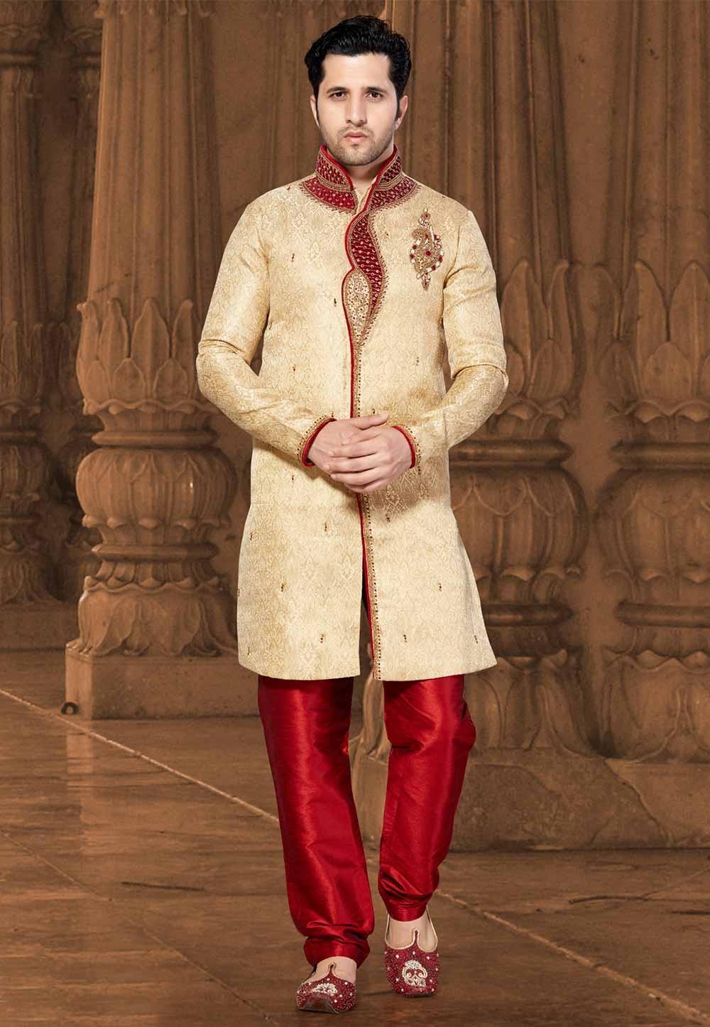 Golden Colour Men's Indowestern.