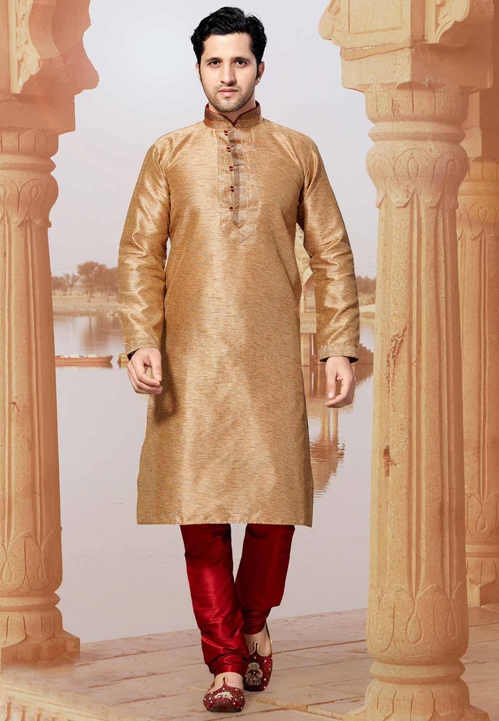 Golden Colour Silk Kurta Pajama.