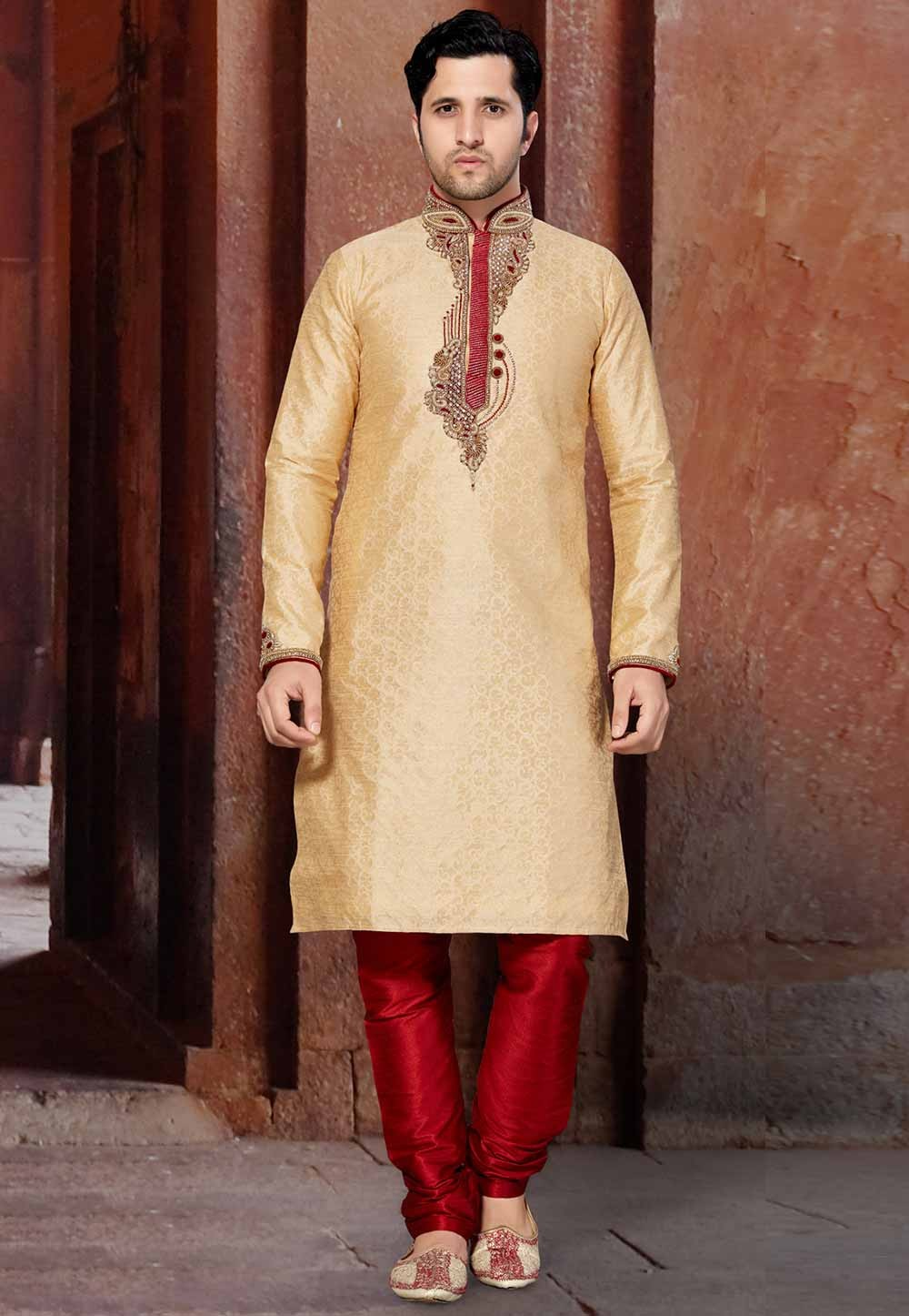Golden Colour Party Wear Kurta Pajama.
