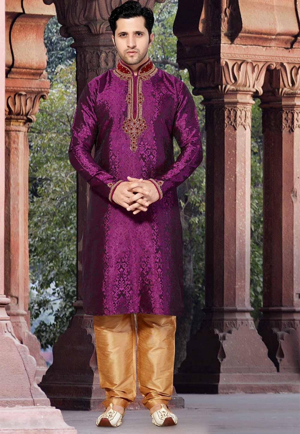 Purple Colour Designer Kurta Pyjama.