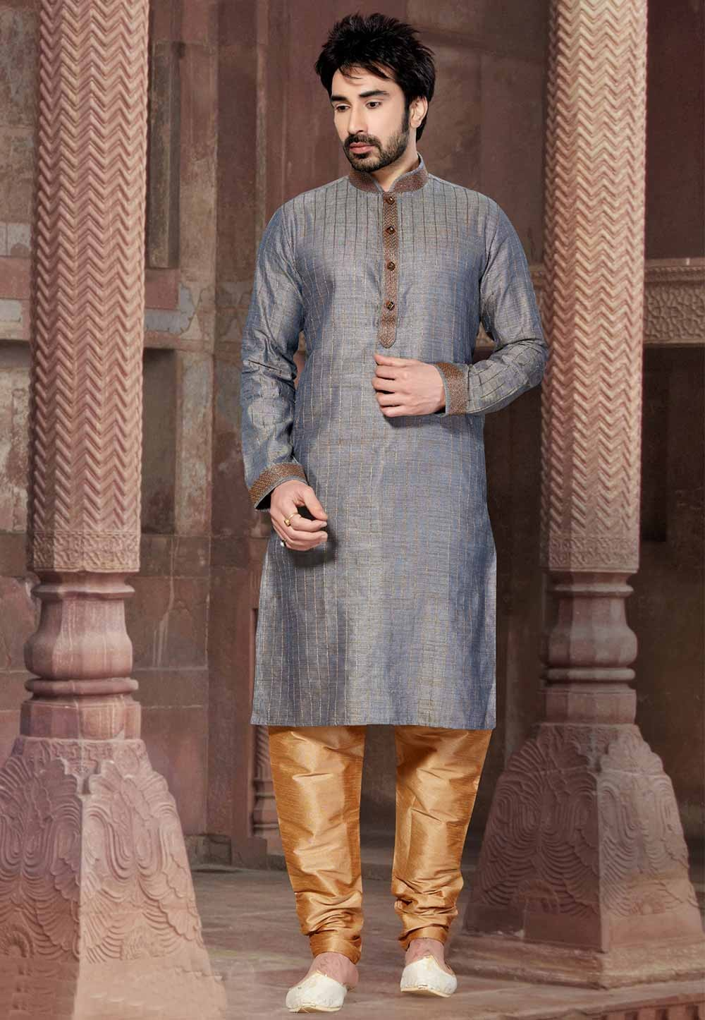 Grey Colour Kurta Pajama.