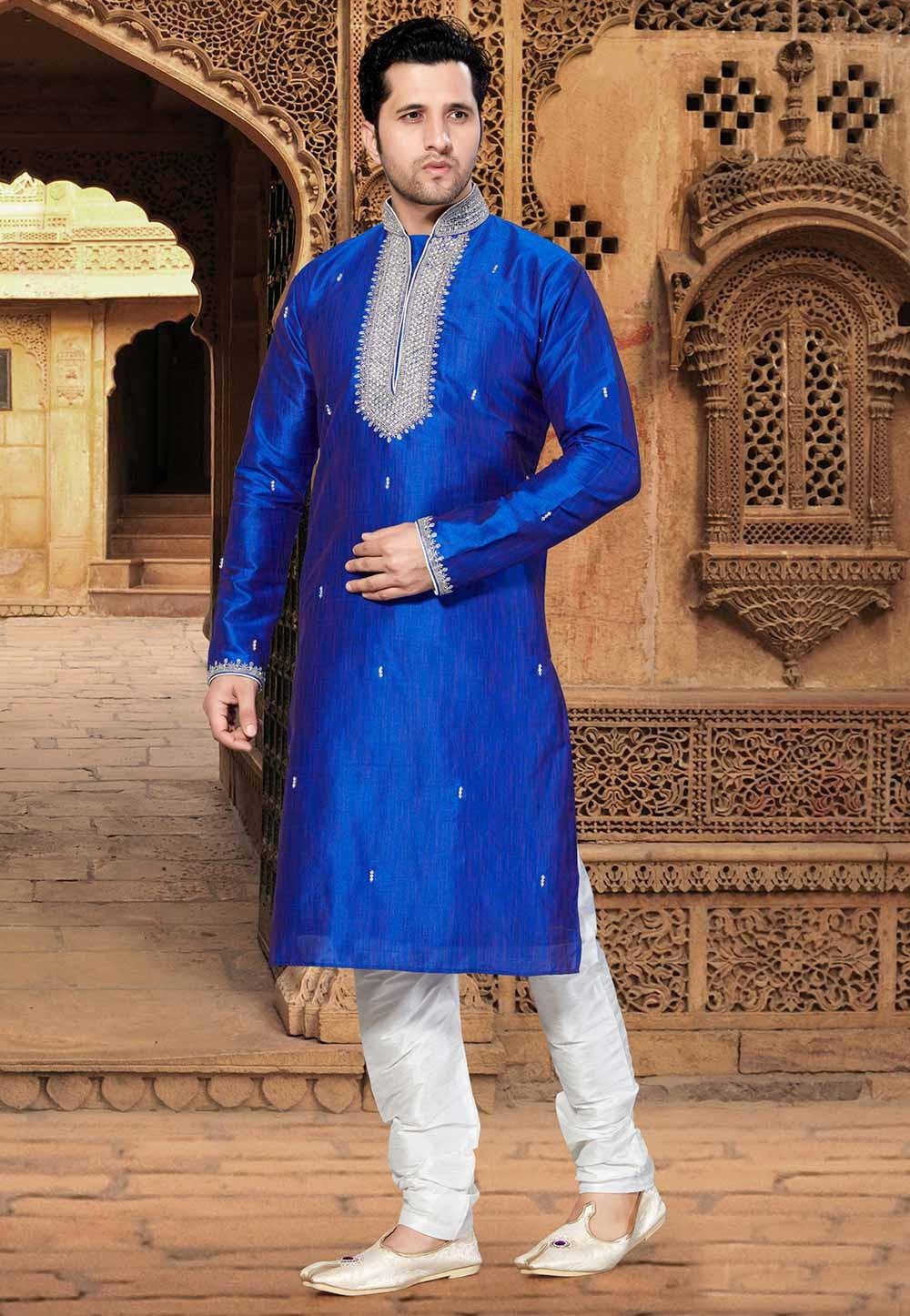 Blue Colour Party Wear Kurta.