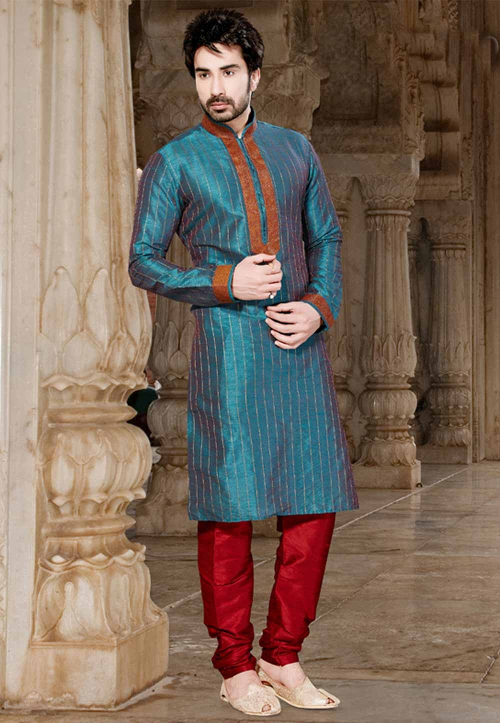 Green Colour Readymade Kurta.