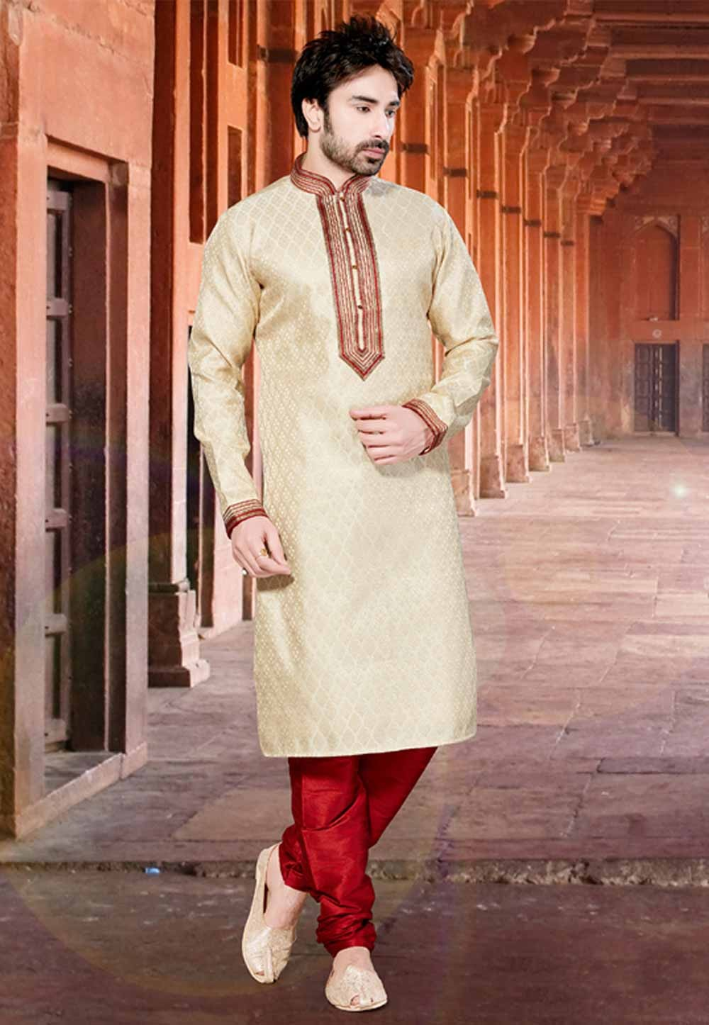 Golden Colour Jacquard Kurta Pajama.