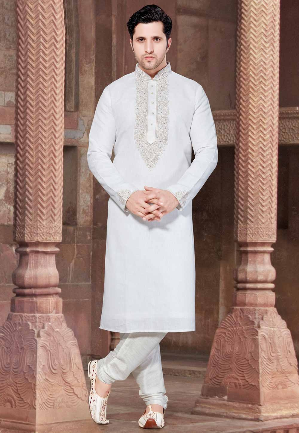 White Colour Designer Kurta Pajama.