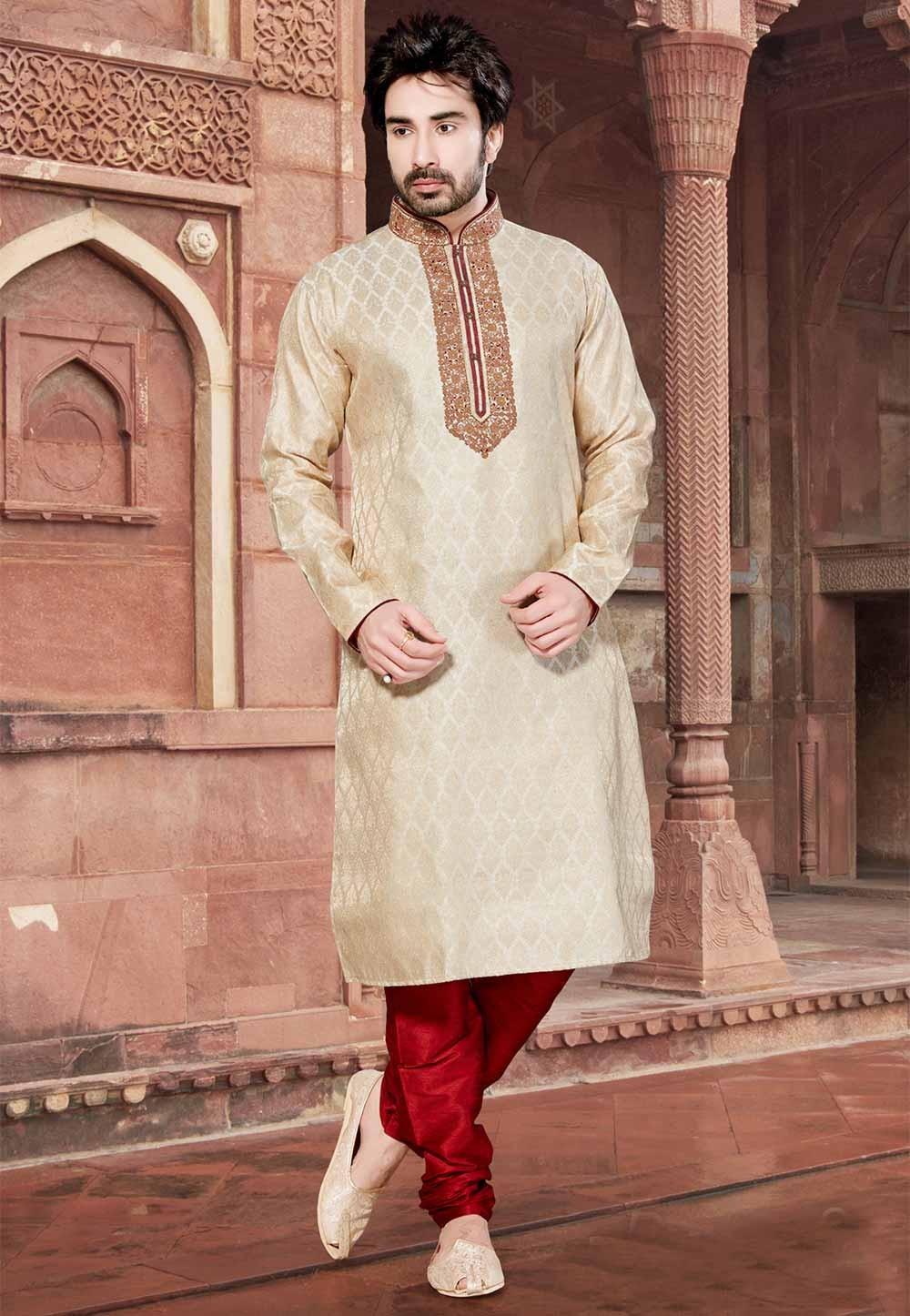 Cream Colour Brocade Kurta Pajama.