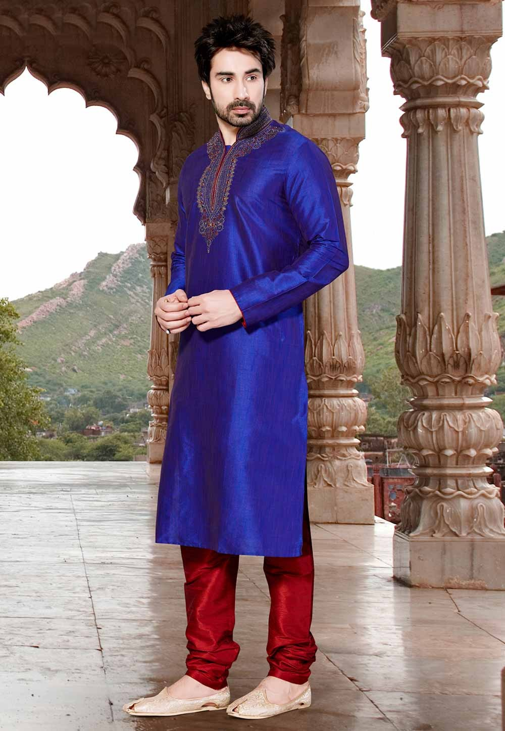 Blue Colour Embroidery Kurta Pajama.