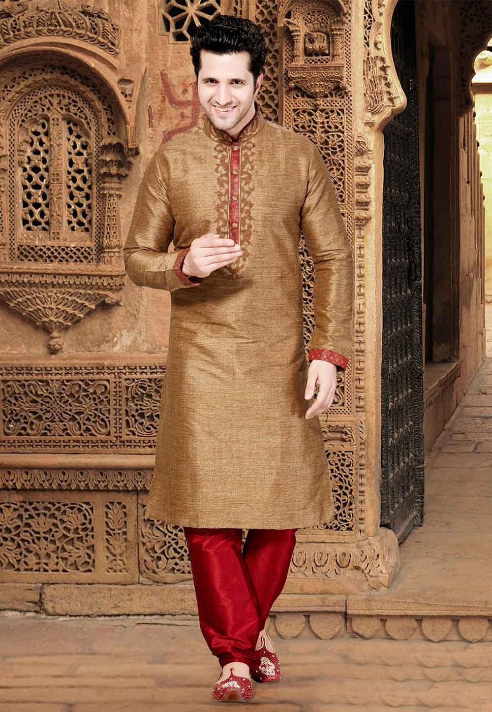 Golden,Brown Colour Silk Kurta Pajama.