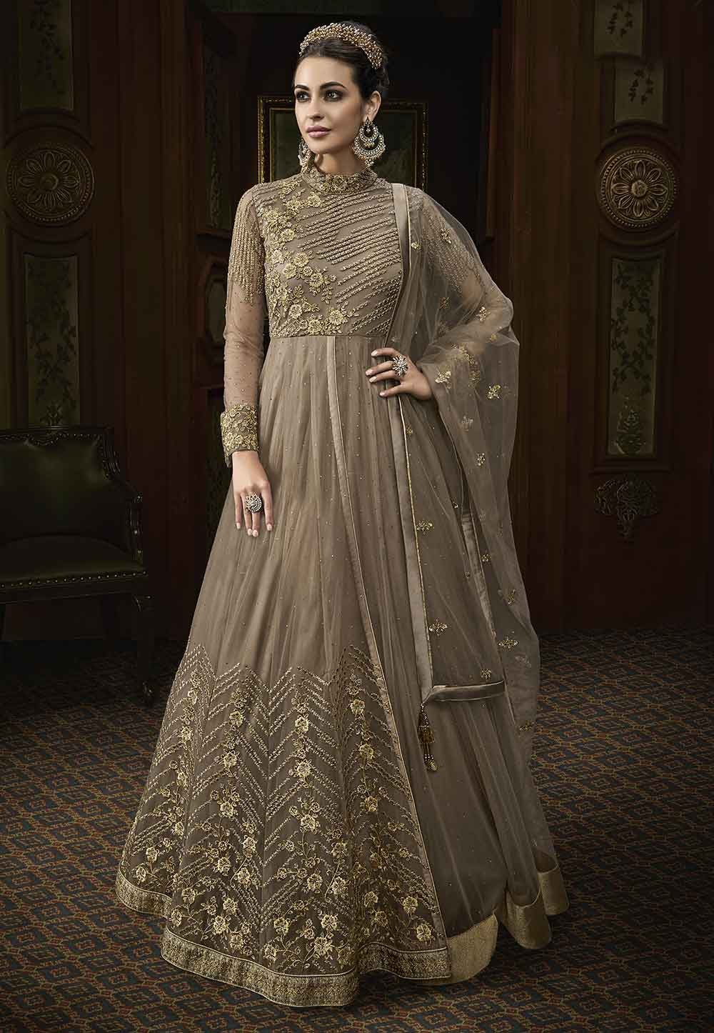 Buy latest salwar kameez online in Beige Colour