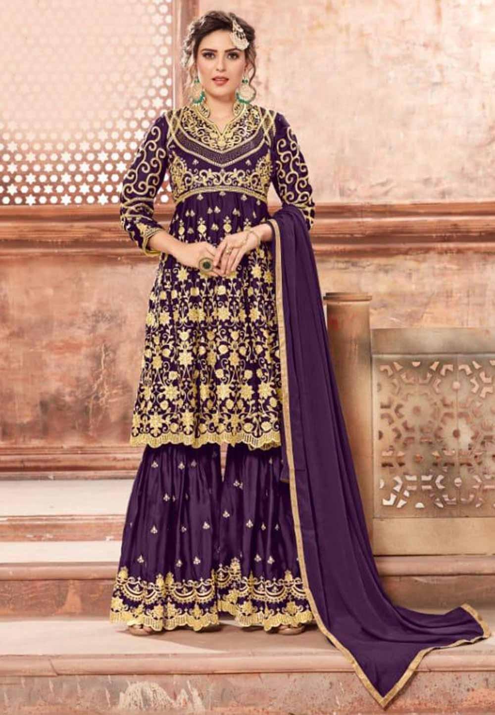 Buy Purple Colour Party Wear Designer salwar kameez online