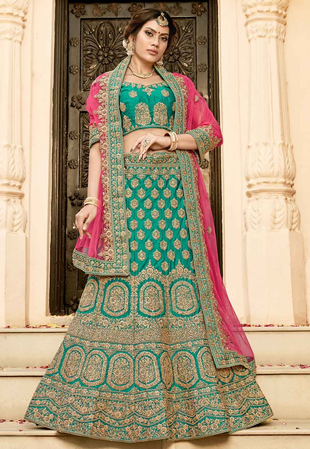 Buy designer wedding lehengas in green colour online